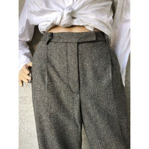 VINTAGE High waisted pleated front wool blend pant